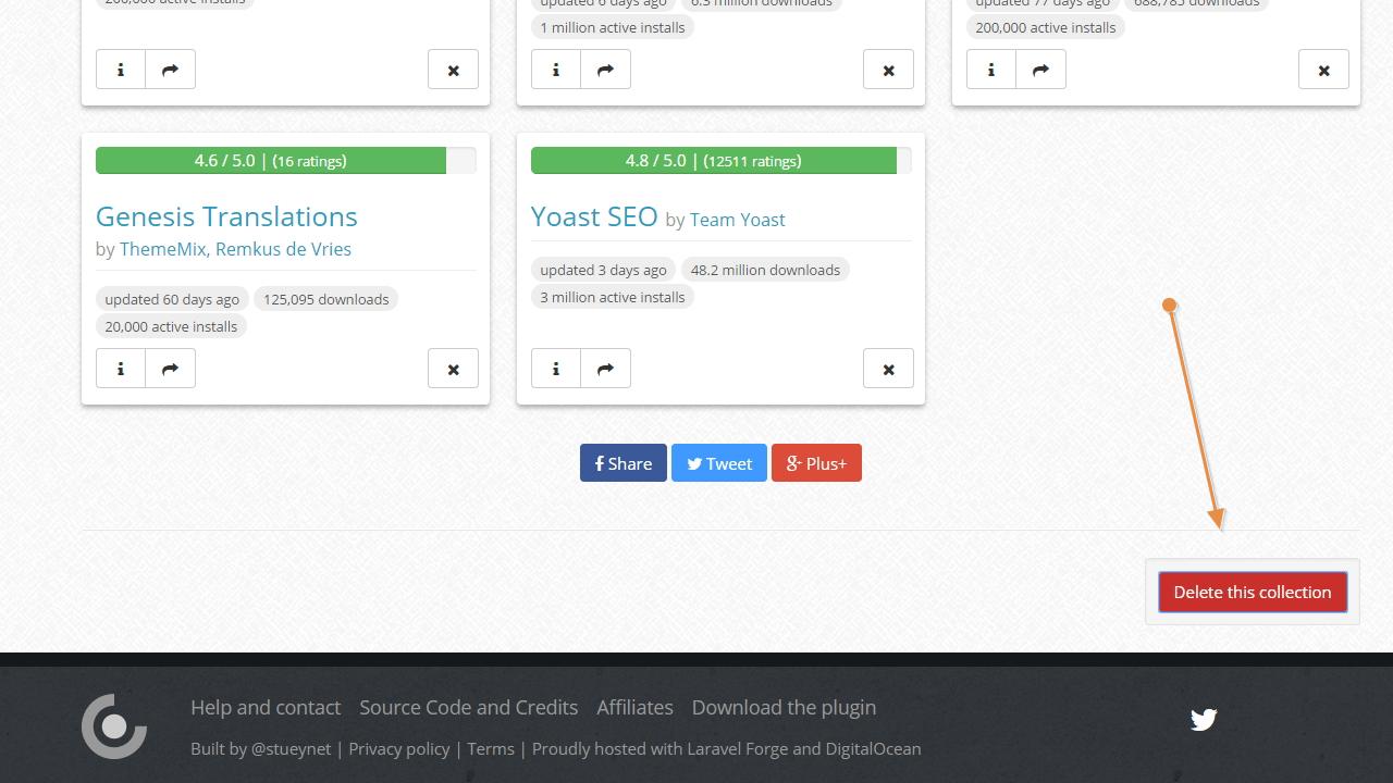 Botón para eliminar una colección de wpcore.com
