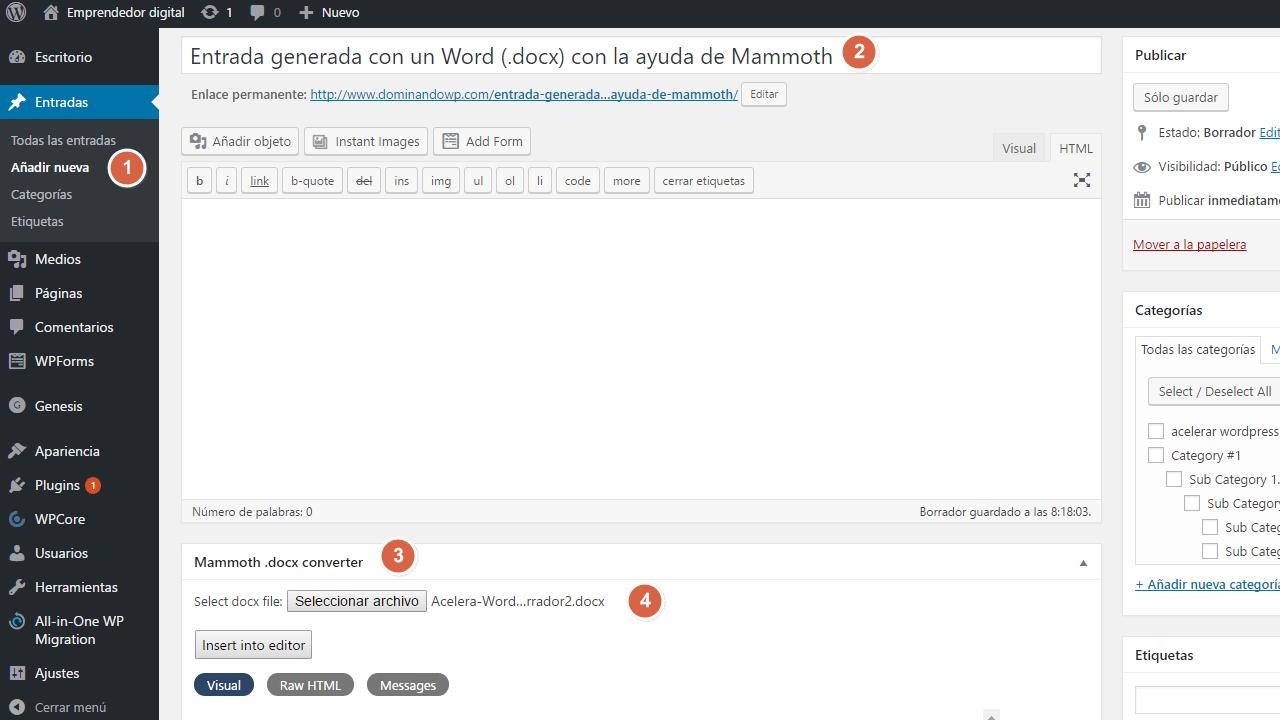 Importar documentos de Word a WordPress con Mammoth docx converter