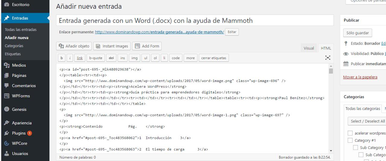 Resultado en el editor html tras importarlo un archivo con mammoth docx converter
