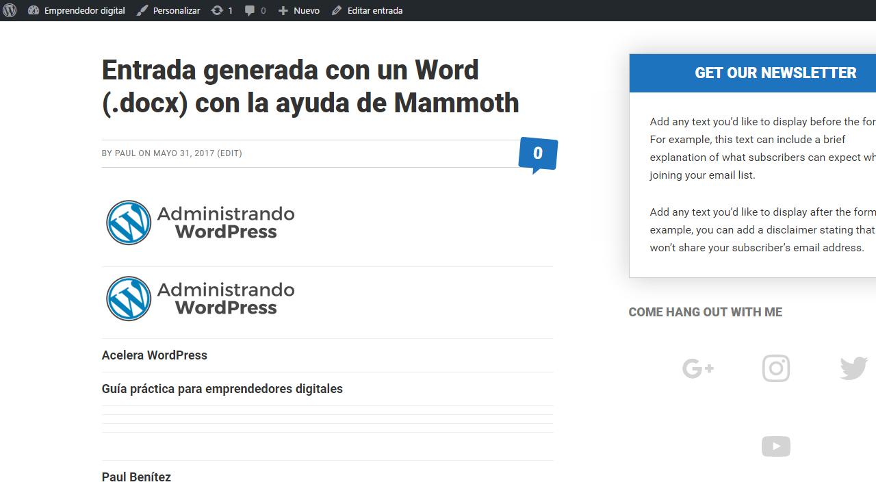 Artículo publicado tras importarlo con mammoth .docx converter. Importar documentos de Word a WordPress.