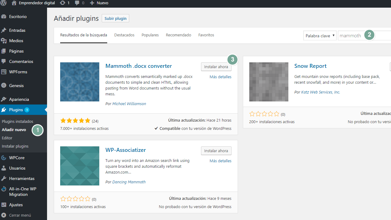 Importar documentos de Word a WordPress. Pasos para instalar mammoth .docx converter