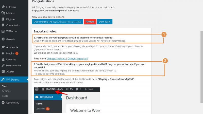 Notas importantes a tener en cuenta al finalizar la creación de tu sitio de laboratorio con WP Staging