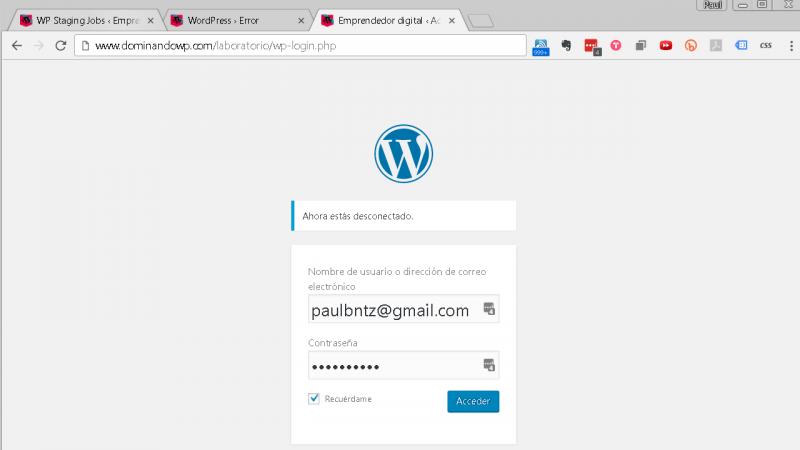 Página de login en tu sitio de laboratorio