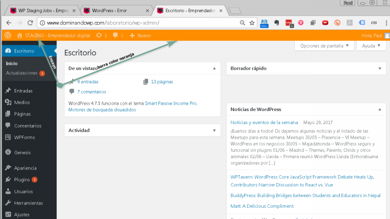 La barra de herramientas es de color naranja en WP Staging