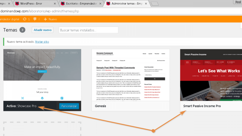 Cambia el tema hijo en tu WordPress. De Smart Passive Income Pro a Showcase Pro