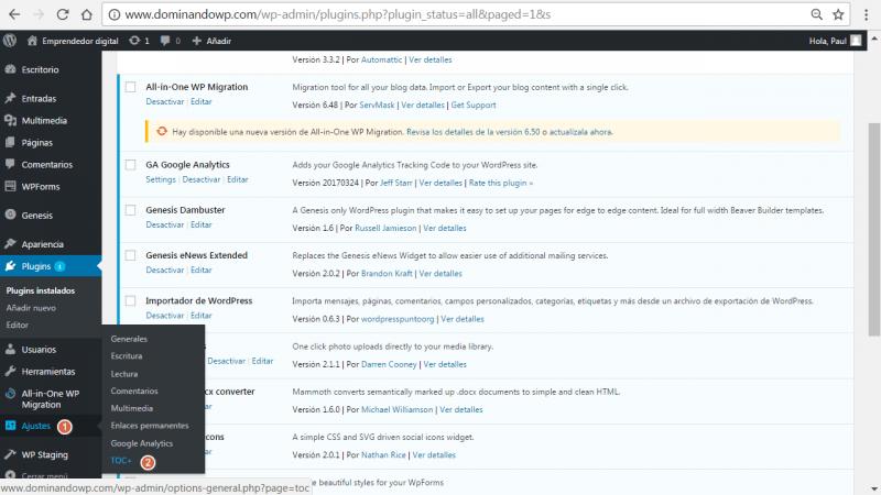 Acceso directo a Table of Contents Plus desde el menu de WordPress