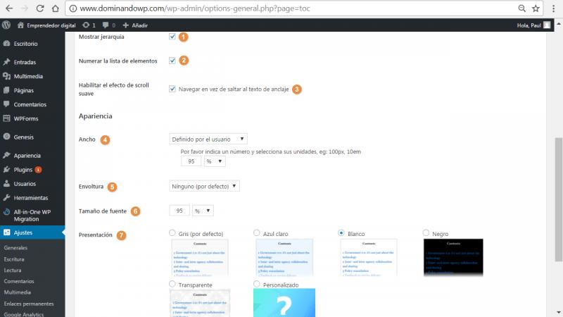 Opciones de configuración de la apariencia de Table of Contents Plus (TOC+)