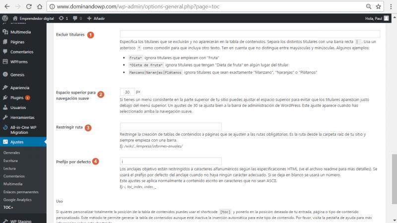 Más opciones de configuración avanzadas de Table of Contents Plus