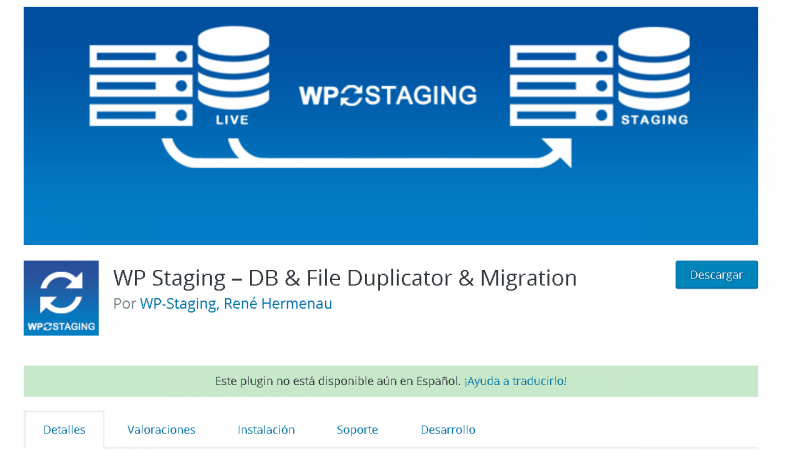 Portada de WP Staging en el repositorio de WordPress