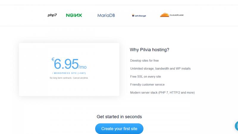 ¿Cuánto cuesta alojarte en pilvia.com? 6,95 euros/mes