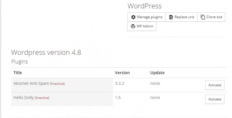 Opciones para administrar plugins de pilvia.com