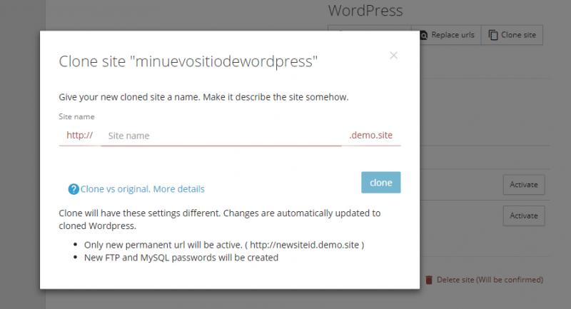 Asistente para clonar sitios de WordPress en pilvia.com