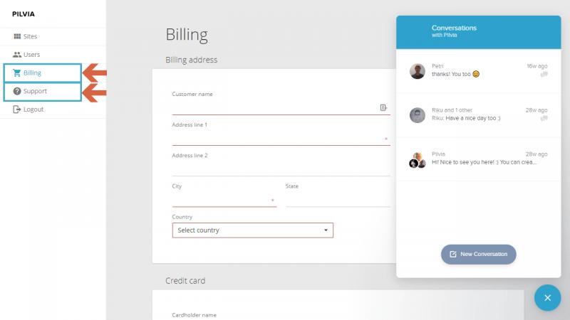 Opciones de facturación y soporte en pilvia.com
