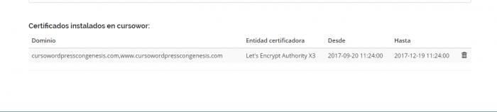 Detalles del certificado de let´s encrypt instalado