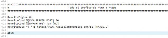 Directivas de htaccess a emplear para pasar de http a https en Webempresa