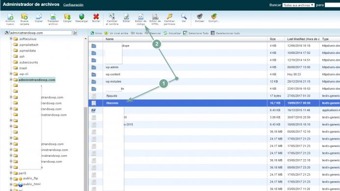 Edita el archivo htaccess con el editor de código de SiteGround