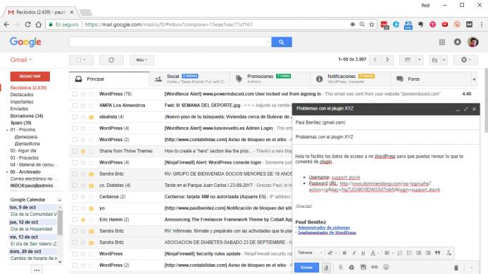 Enviando el texto modelo de support me por correo electrónico.