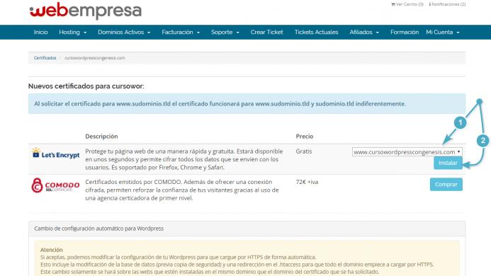 Instalar el certificado asociado al dominio en Webempresa