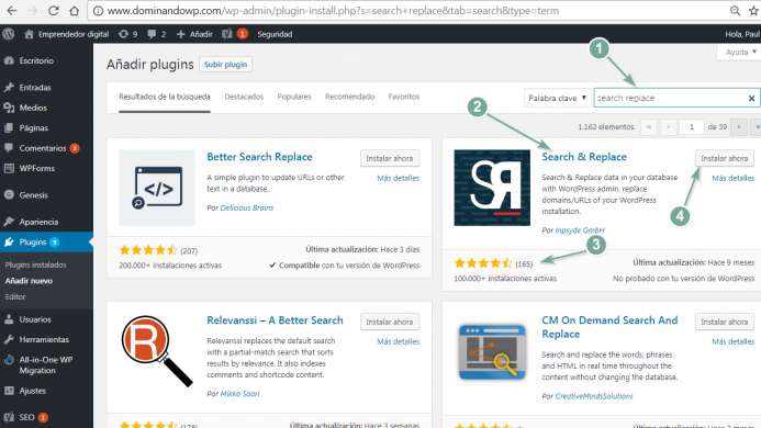 Instalar el plugin Search & Replace.