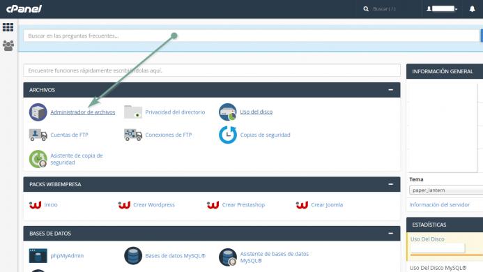 Localizar el archivo htaccess en Webempresa desde el cpanel