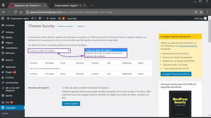 Los tipos de registro de iThemes Security