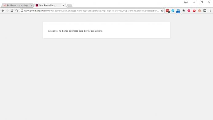 Mensaje que se muestra cuando se intenta borrar una cuenta de usuario desde la cuenta de soporte.