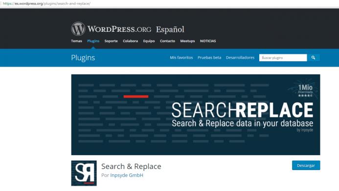 Plugin de WordPress Seach & Replace.
