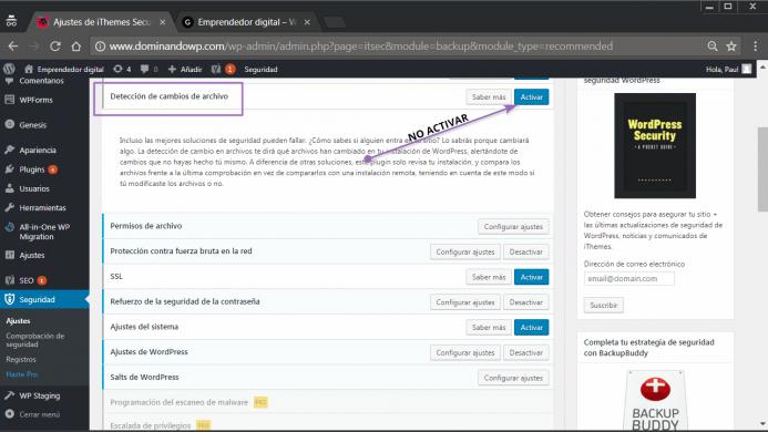 La deteccion de cambios de archivos en iThemes Security