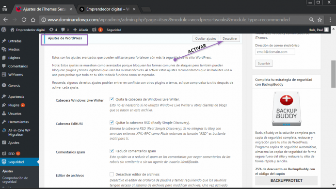 Los ajustes de WordPress en iThemes Security
