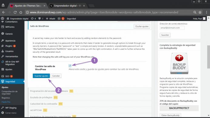 Salts de WordPress o la configuración de las claves secretas con iThemes Security