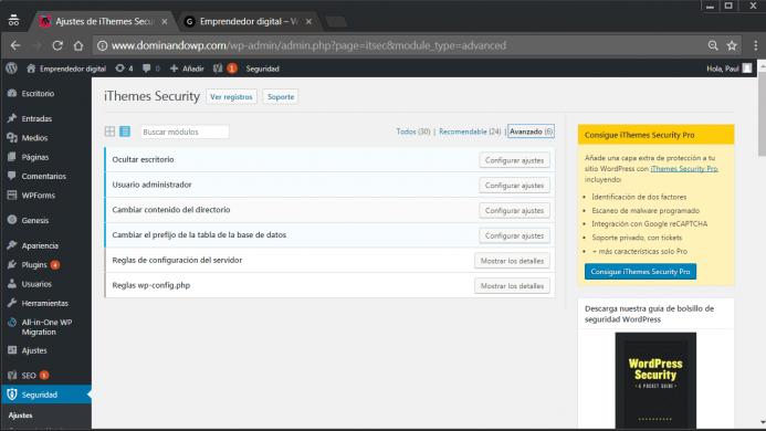Las opciones de configuración avanzadas de iThemes Security