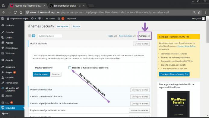 Ocultar escritorio en iThemes Security
