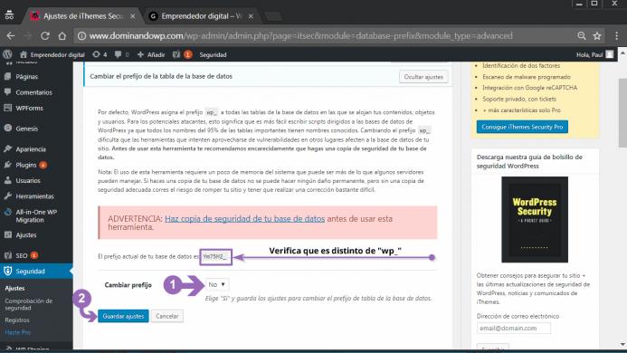 Cambiar el prefijo de la tabla de la base de datos en iThemes Security