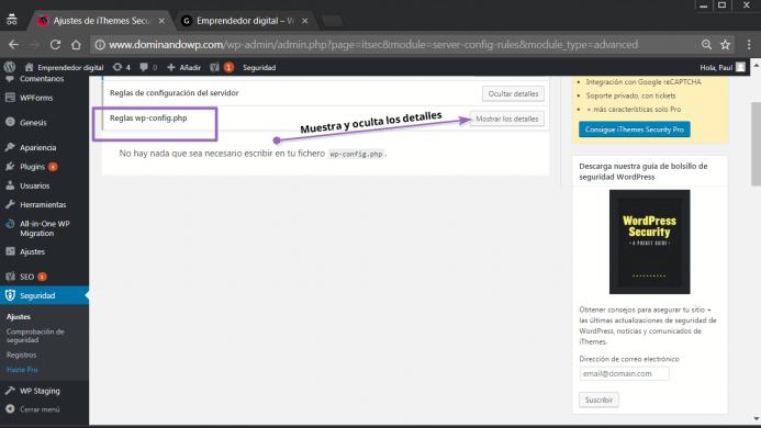 Reglas del archivo wp-config.php en iThemes Security