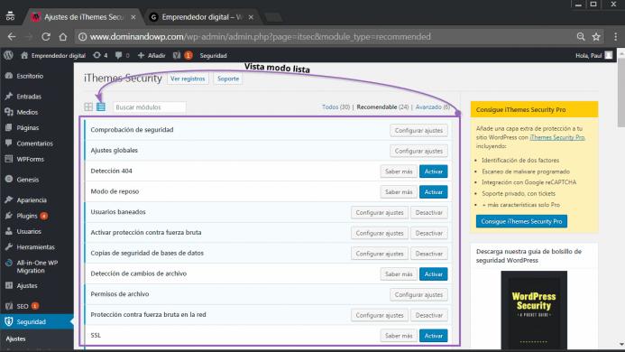 El modo lista de opciones de configuración de iThemes Security