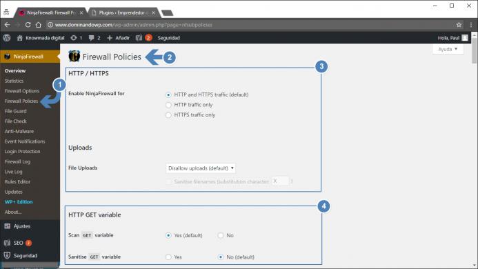 Acceso a la configuración de las políticas del Firewall