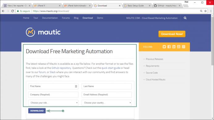 Completa los datos del formulario para poder descargarte el archivo de instalación de Mautic