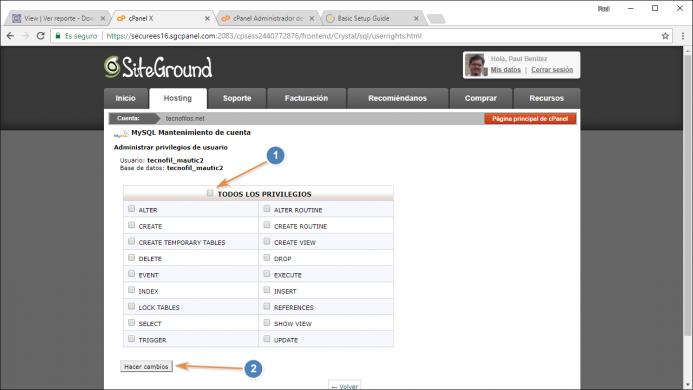 Configura al usuario del punto 2 como administrador de la base de datos del punto 1. Paso 2.