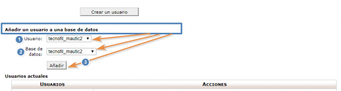 Configura al usuario del punto 2 como administrador de la base de datos del punto 1. Paso 1.