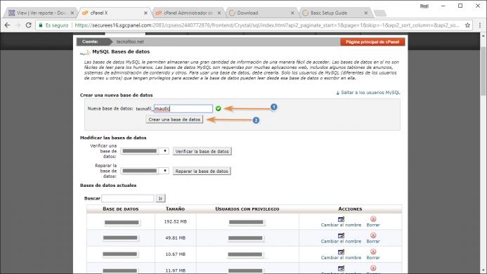 Creación de la base de datos desde el panel de control