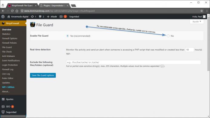 File Guard. No actives por defecto al guardián de archivos en NinjaFirewall.