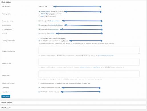Opciones de configuración de ga google analytics
