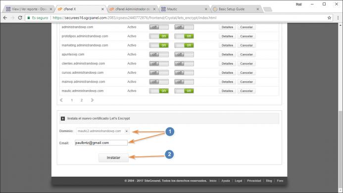 Instala el certificado de let´s encrypt para el dominio o subdminio que te interesa