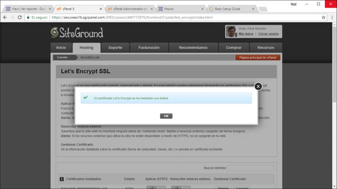 Instalación del certificado de let´s enctrypt realizado con éxito