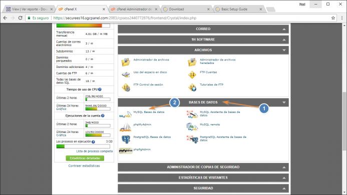 Localiza las opción de bases de datos en tu cpanel