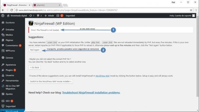 Mensaje de error que se muestra cuando no se puede cargar NinjaFirewall. Error: NinjaFirewall is not loaded.