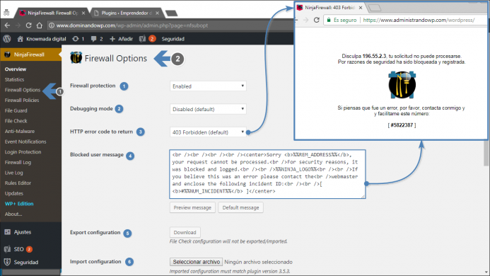 Menú de acceso a las opciones de configuración: NinjaFirewall Options.