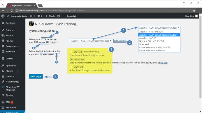 """NinjaFirewall. La configuración del sistema """"system configuration"""""""