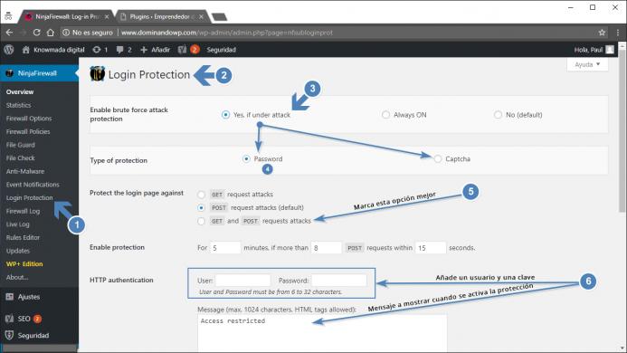 Ninjafirewall Login Protection. Opciones de configuración para proteger el login de WordPress.