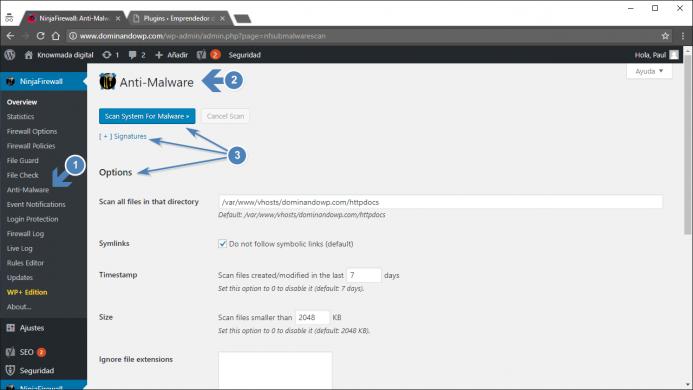 Opciones de configuración de Anti-Malware de NinjaFirewall.